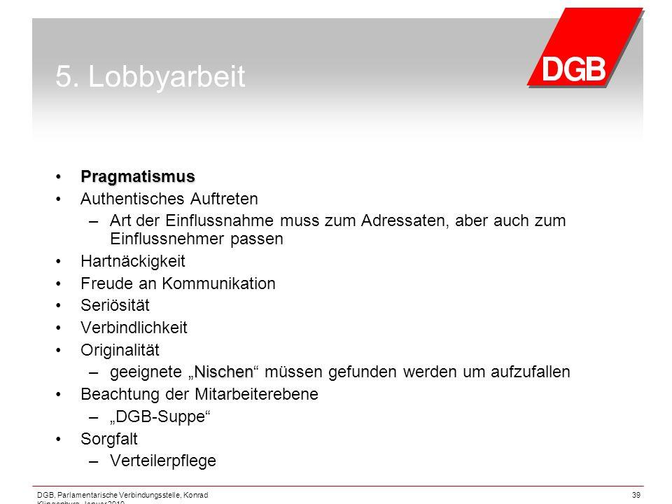5. Lobbyarbeit Pragmatismus Authentisches Auftreten