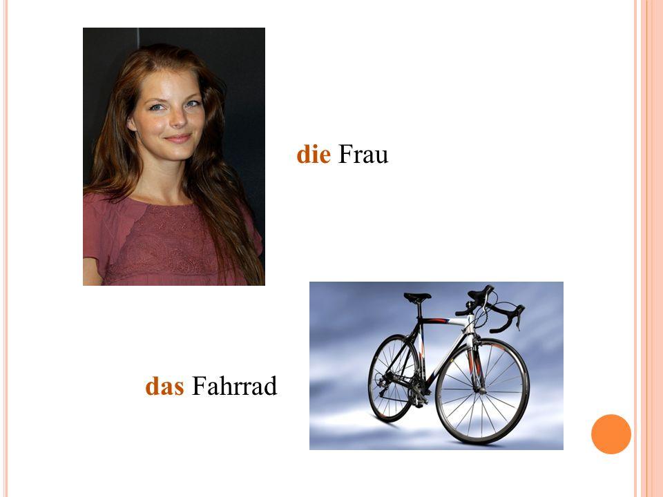 die Frau das Fahrrad