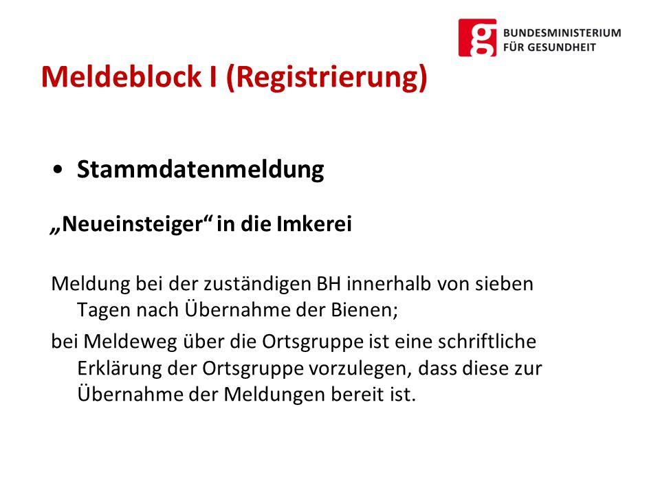 Meldeblock I (Registrierung)