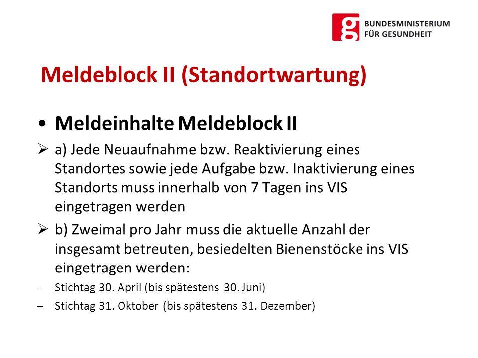 Meldeblock II (Standortwartung)