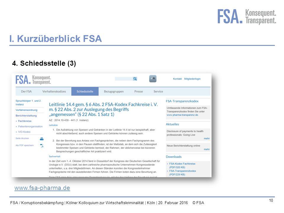 I. Kurzüberblick FSA 4. Schiedsstelle (3) www.fsa-pharma.de