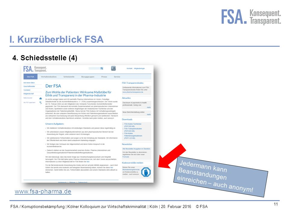I. Kurzüberblick FSA 4. Schiedsstelle (4) Jedermann kann