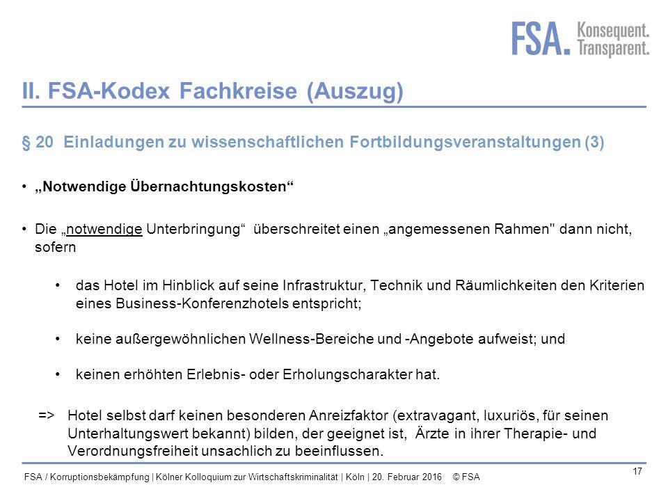 II. FSA-Kodex Fachkreise (Auszug)