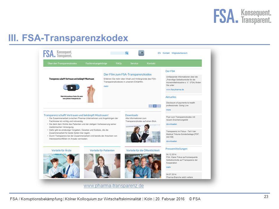 III. FSA-Transparenzkodex