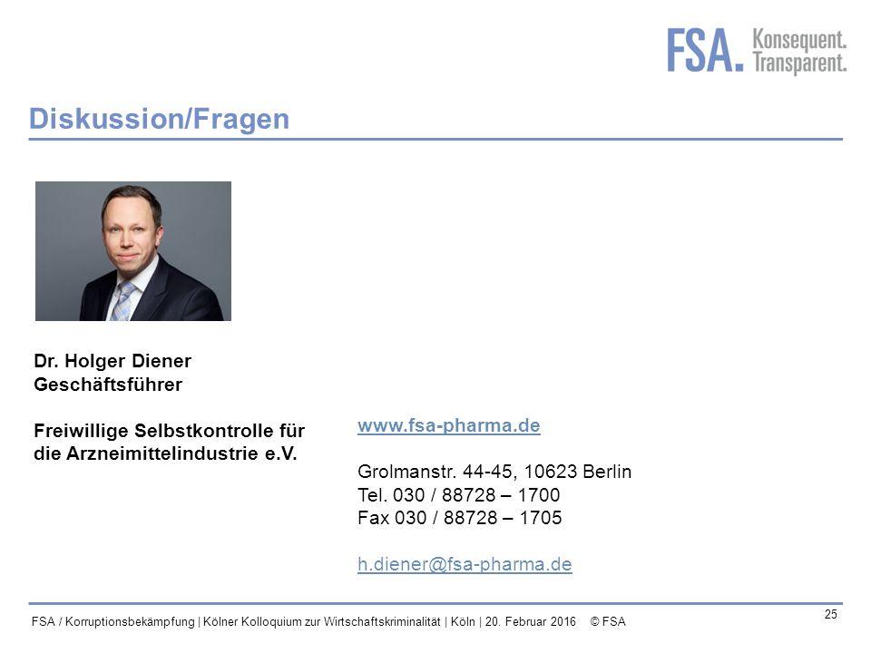 Diskussion/Fragen Dr. Holger Diener Geschäftsführer