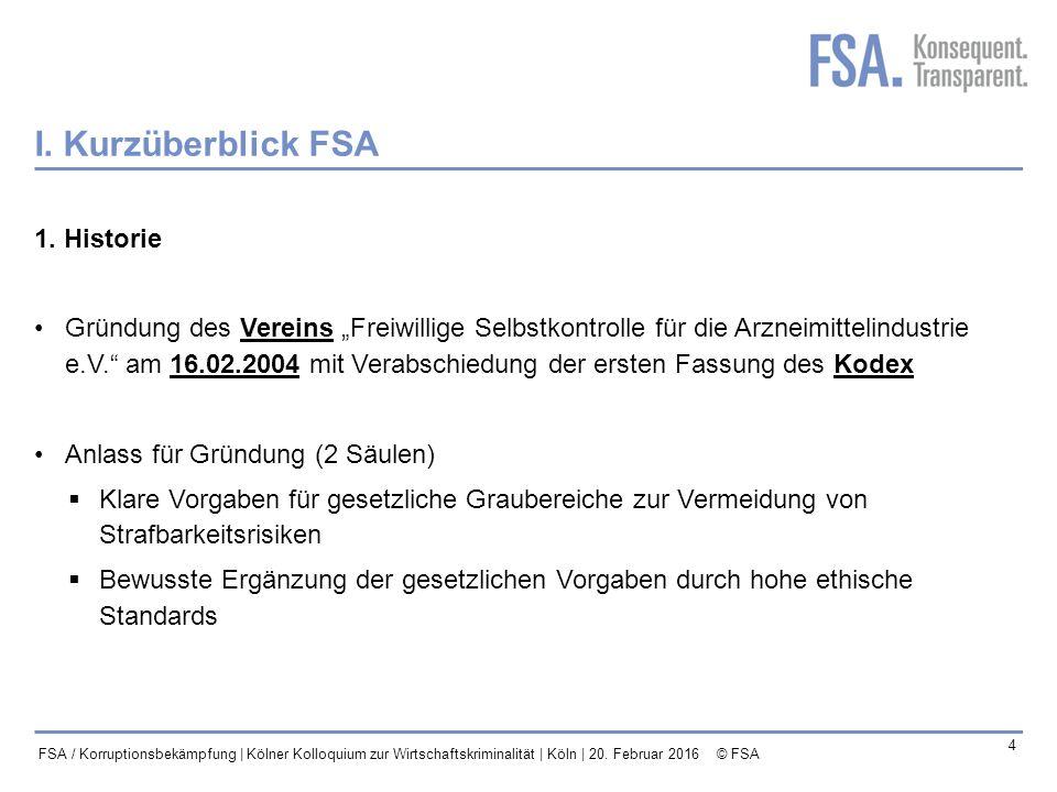 I. Kurzüberblick FSA 1. Historie