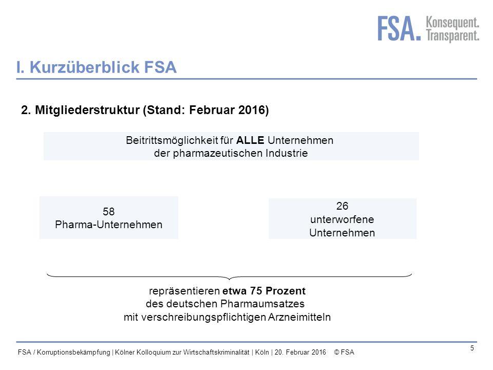I. Kurzüberblick FSA 2. Mitgliederstruktur (Stand: Februar 2016)