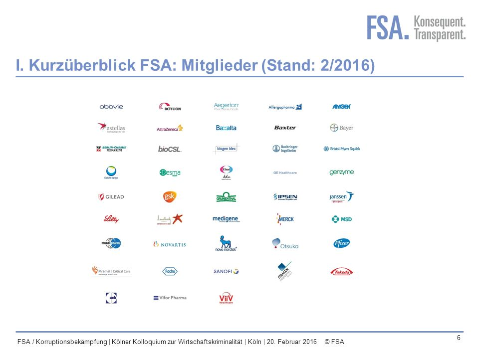 I. Kurzüberblick FSA: Mitglieder (Stand: 2/2016)