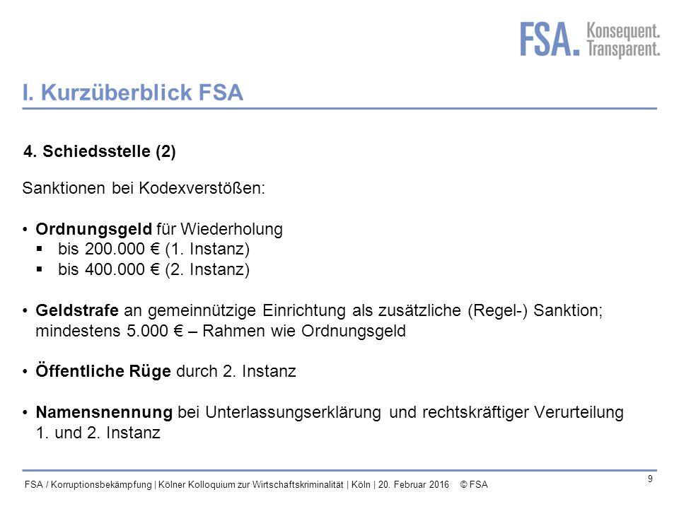 I. Kurzüberblick FSA 4. Schiedsstelle (2)