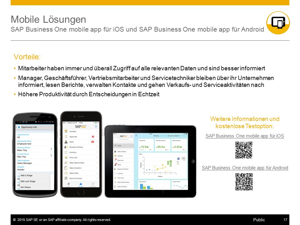 Mobile Lösungen SAP Business One mobile app für iOS und SAP Business One mobile app für Android
