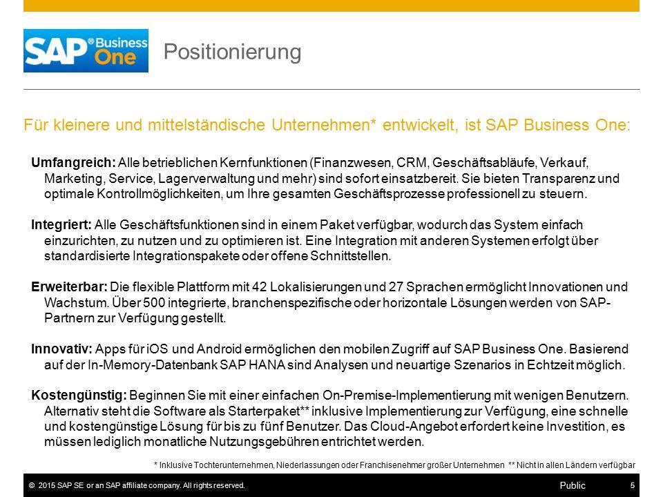 Positionierung Für kleinere und mittelständische Unternehmen* entwickelt, ist SAP Business One: