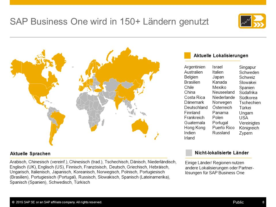 SAP Business One wird in 150+ Ländern genutzt