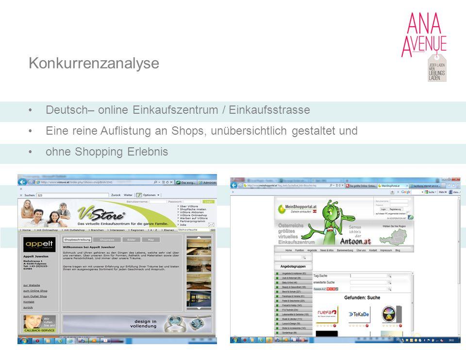 Konkurrenzanalyse Deutsch– online Einkaufszentrum / Einkaufsstrasse