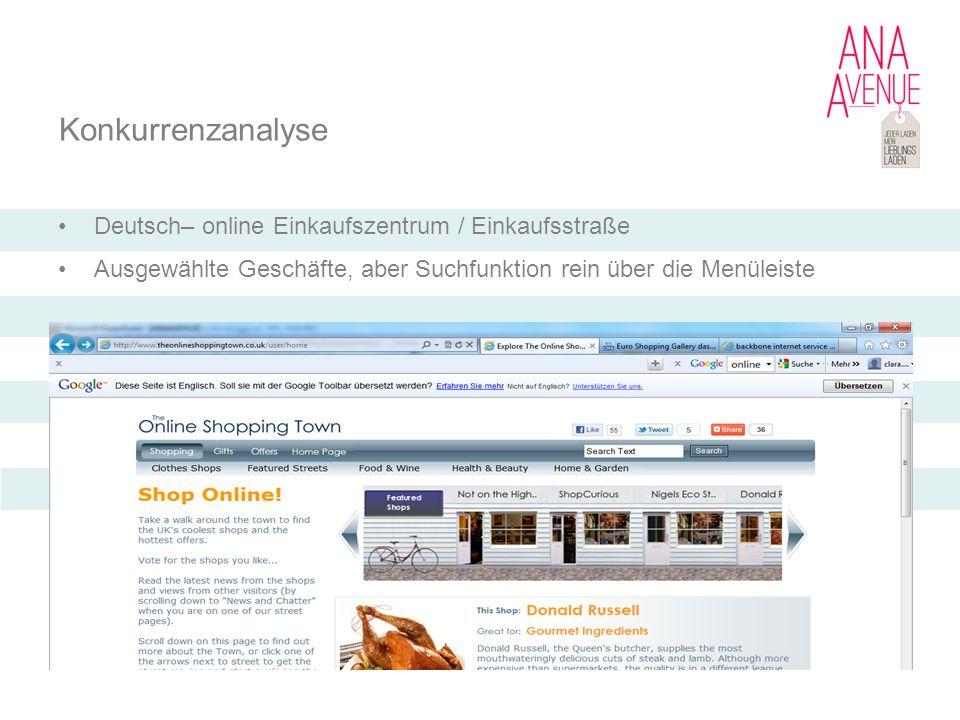 Konkurrenzanalyse Deutsch– online Einkaufszentrum / Einkaufsstraße