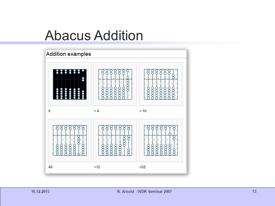 Abacus Addition 21.03.2017 R. Arnold - IVDK Seminar 2007