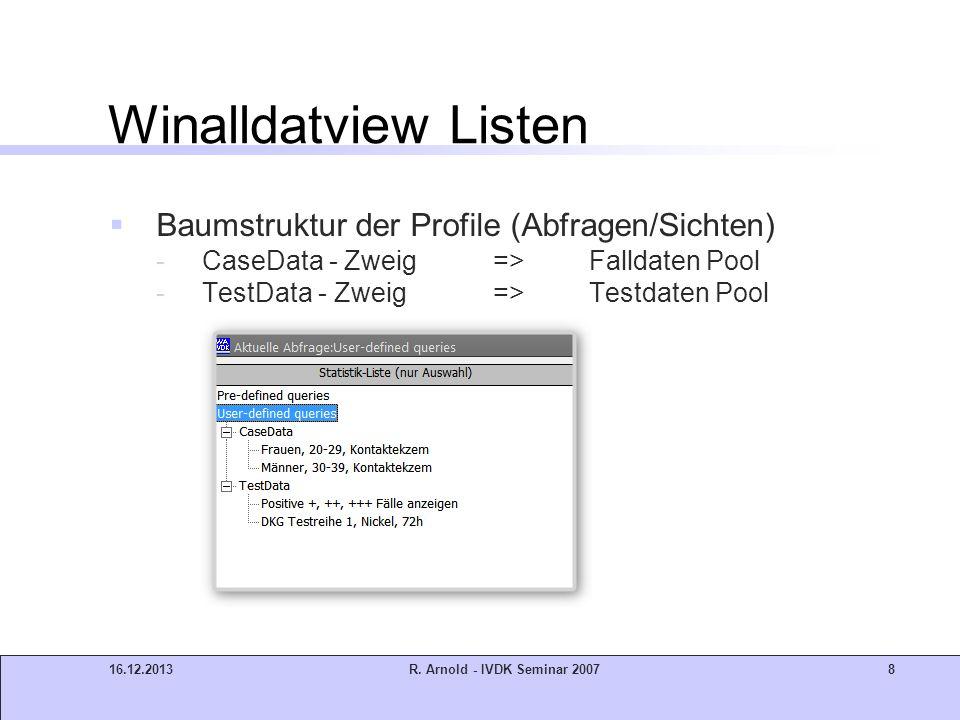 Winalldatview Listen Baumstruktur der Profile (Abfragen/Sichten)