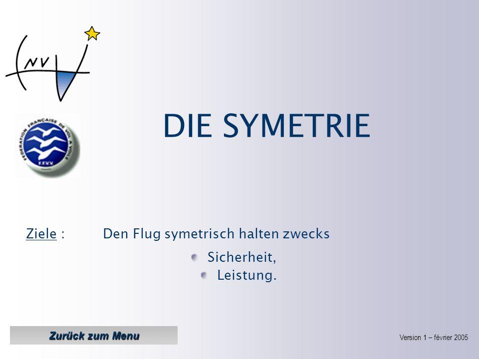 DIE SYMETRIE Ziele : Den Flug symetrisch halten zwecks Sicherheit,