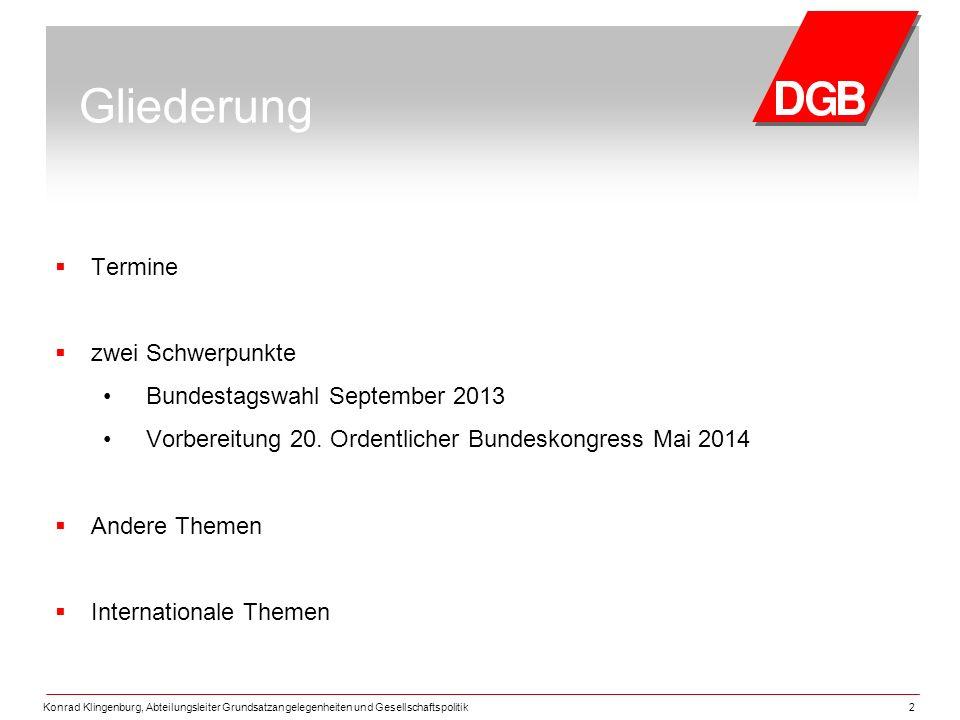 Gliederung Termine zwei Schwerpunkte Bundestagswahl September 2013