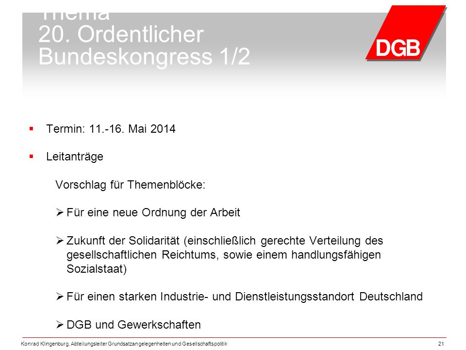 Thema 20. Ordentlicher Bundeskongress 1/2