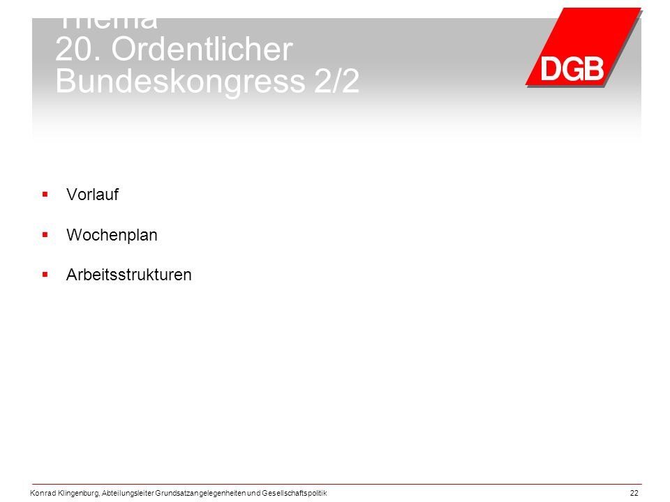 Thema 20. Ordentlicher Bundeskongress 2/2