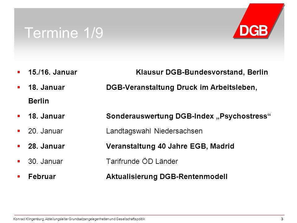 Termine 1/9 15./16. Januar Klausur DGB-Bundesvorstand, Berlin