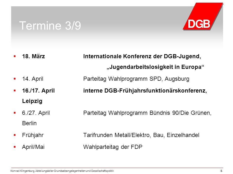 """Termine 3/9 18. März Internationale Konferenz der DGB-Jugend, """"Jugendarbeitslosigkeit in Europa"""