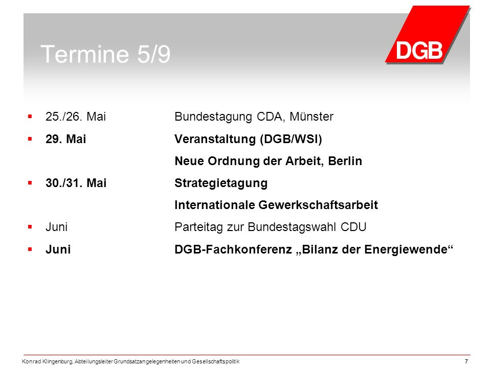 Termine 5/9 25./26. Mai Bundestagung CDA, Münster