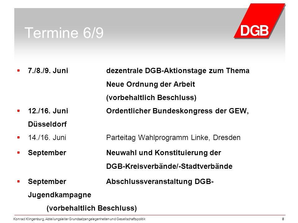 Termine 6/9 7./8./9. Juni dezentrale DGB-Aktionstage zum Thema Neue Ordnung der Arbeit (vorbehaltlich Beschluss)