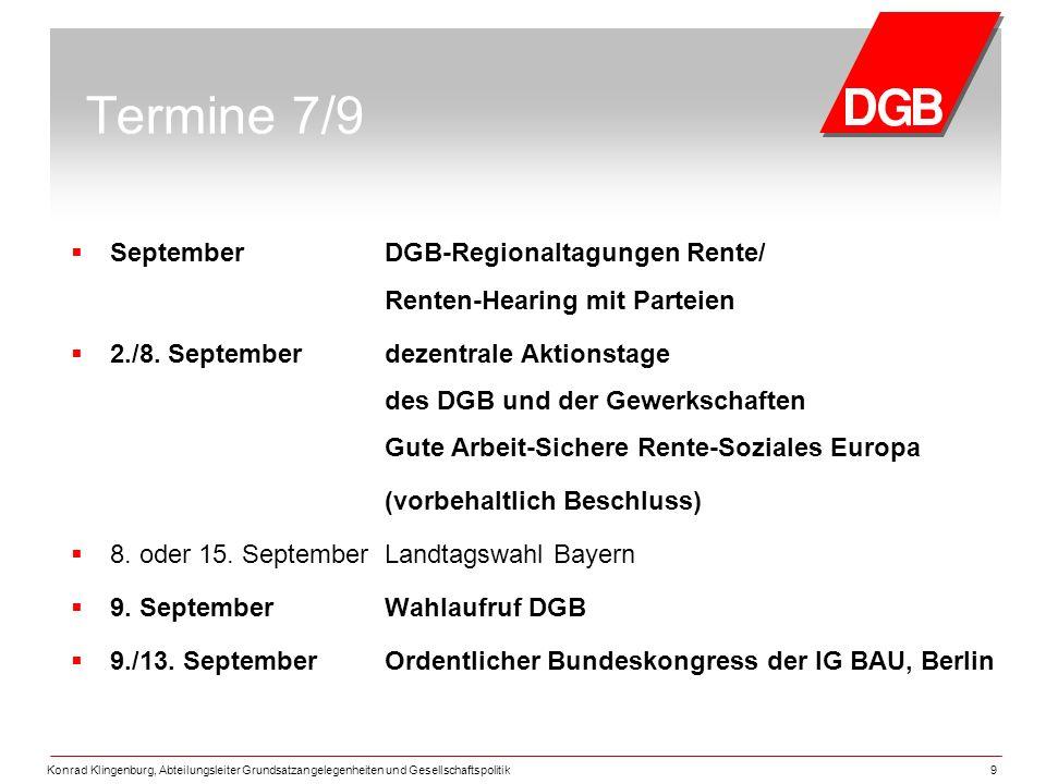 Termine 7/9 September DGB-Regionaltagungen Rente/ Renten-Hearing mit Parteien.