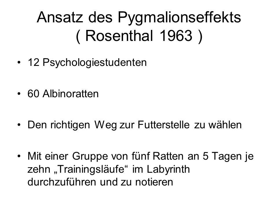 Ansatz des Pygmalionseffekts ( Rosenthal 1963 )