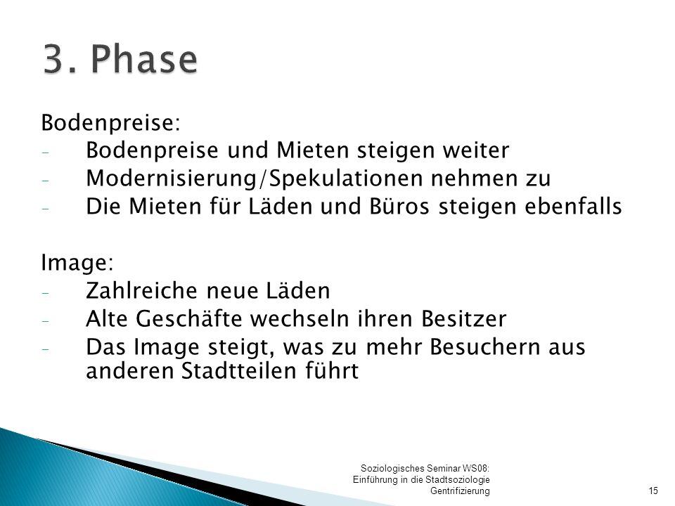3. Phase Verdrängung: Die ursprünglichen Bewohner ziehen weg (da ihnen die Mieten zu teuer werden oder weil Ihnen der Wandel missfällt)