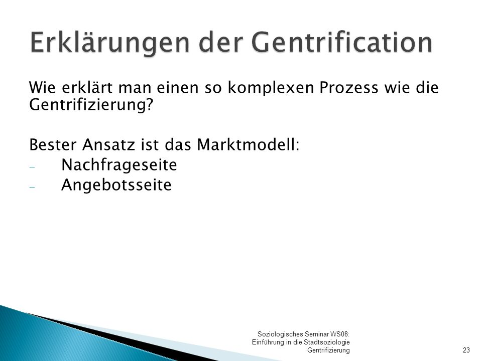 Erklärungen der Gentrification