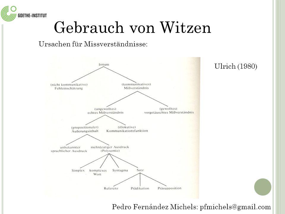 Gebrauch von Witzen Ursachen für Missverständnisse: Ulrich (1980)