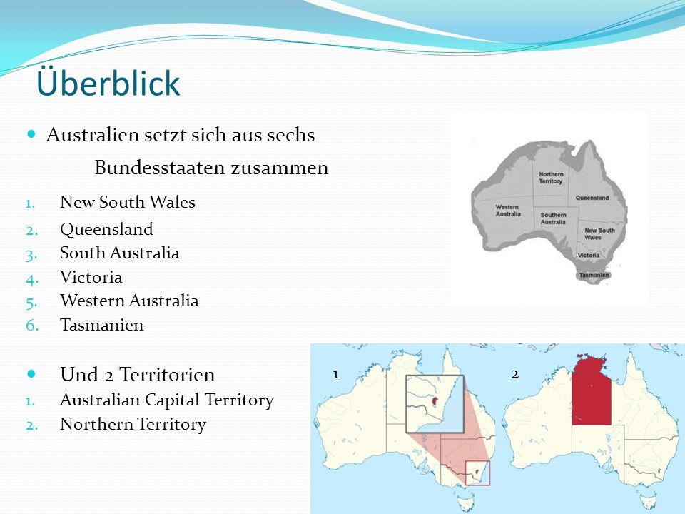 Überblick Australien setzt sich aus sechs Bundesstaaten zusammen