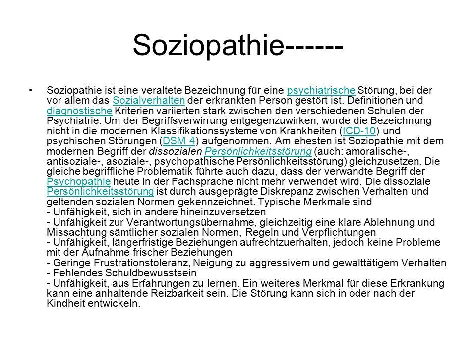 Soziopathie------