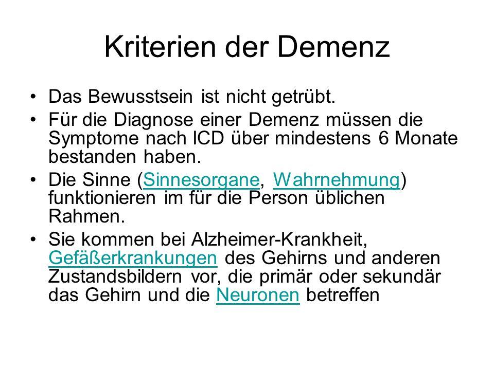Kriterien der Demenz Das Bewusstsein ist nicht getrübt.