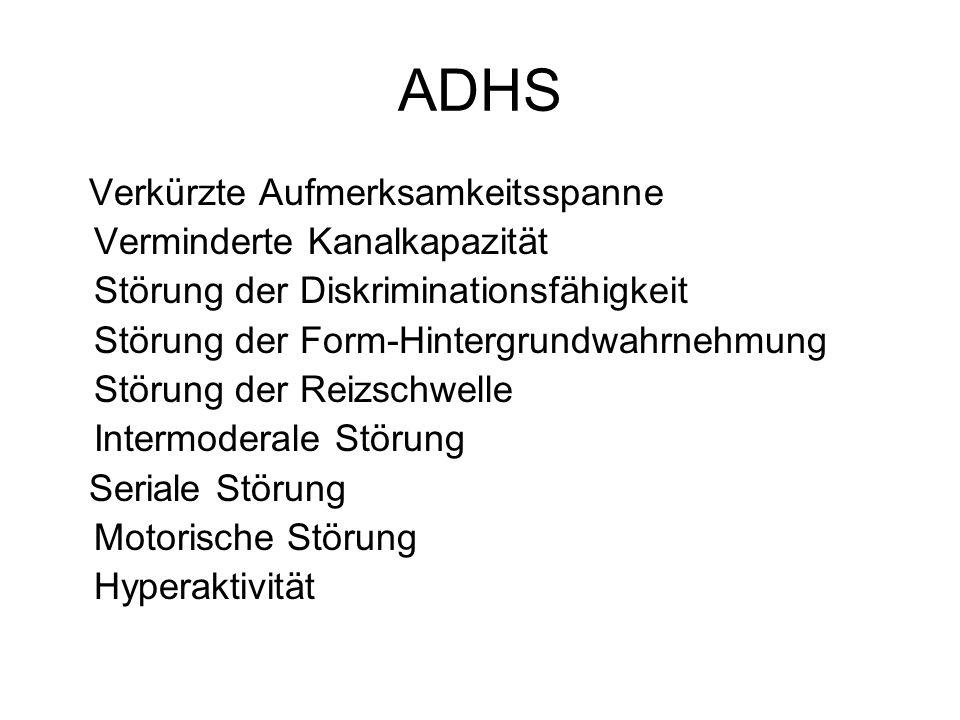 ADHS Verkürzte Aufmerksamkeitsspanne Seriale Störung