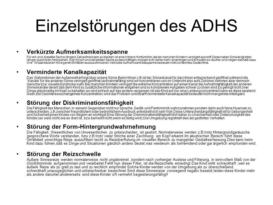 Einzelstörungen des ADHS
