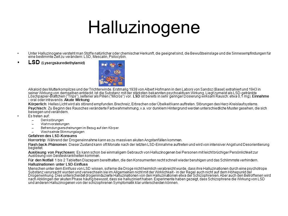 Halluzinogene LSD (Lysergsäurediethylamid)