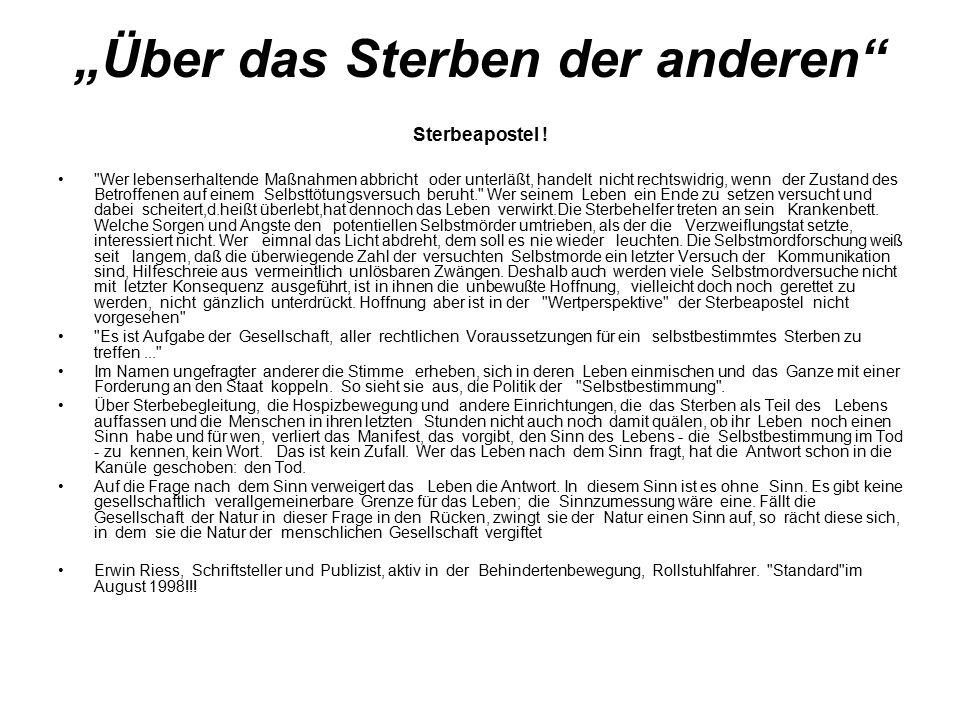 """""""Über das Sterben der anderen Sterbeapostel !"""