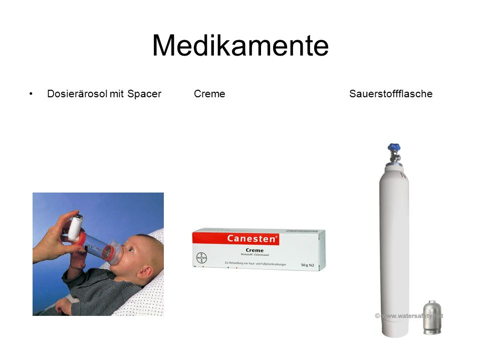 Medikamente Dosierärosol mit Spacer Creme Sauerstoffflasche.