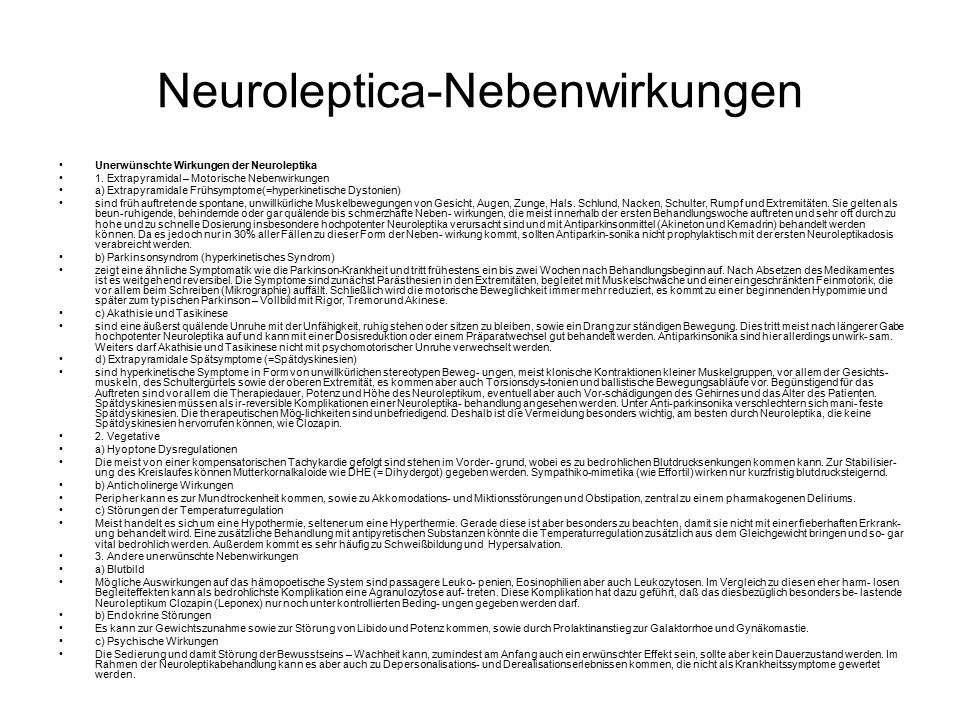 Neuroleptica-Nebenwirkungen