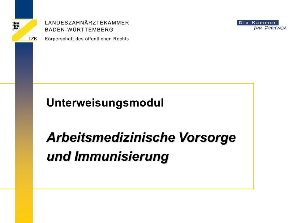 Arbeitsmedizinische Vorsorge und Immunisierung