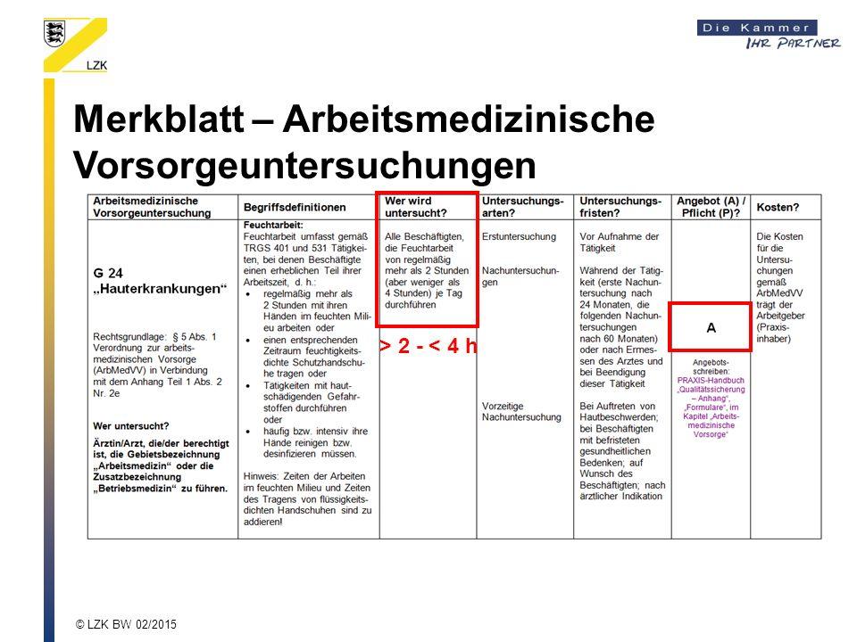Merkblatt – Arbeitsmedizinische Vorsorgeuntersuchungen