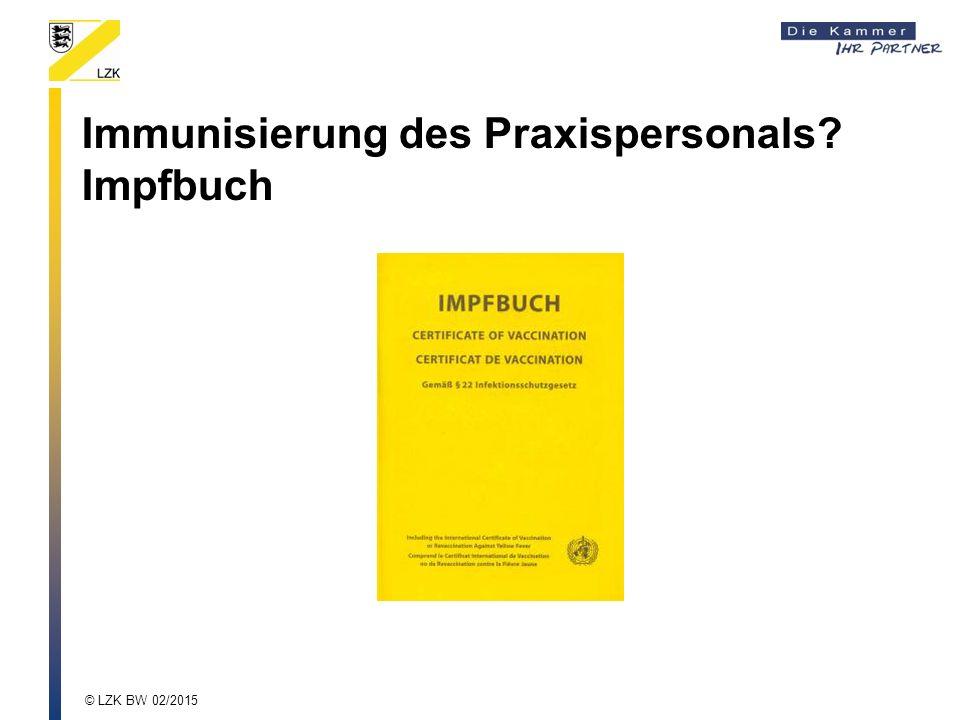 Immunisierung des Praxispersonals Impfbuch