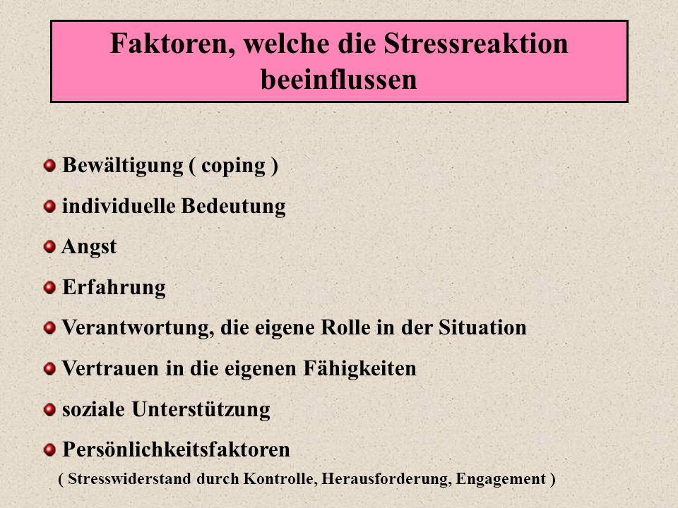 Faktoren, welche die Stressreaktion beeinflussen