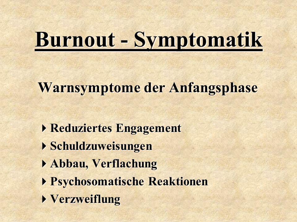 Burnout - Symptomatik Warnsymptome der Anfangsphase