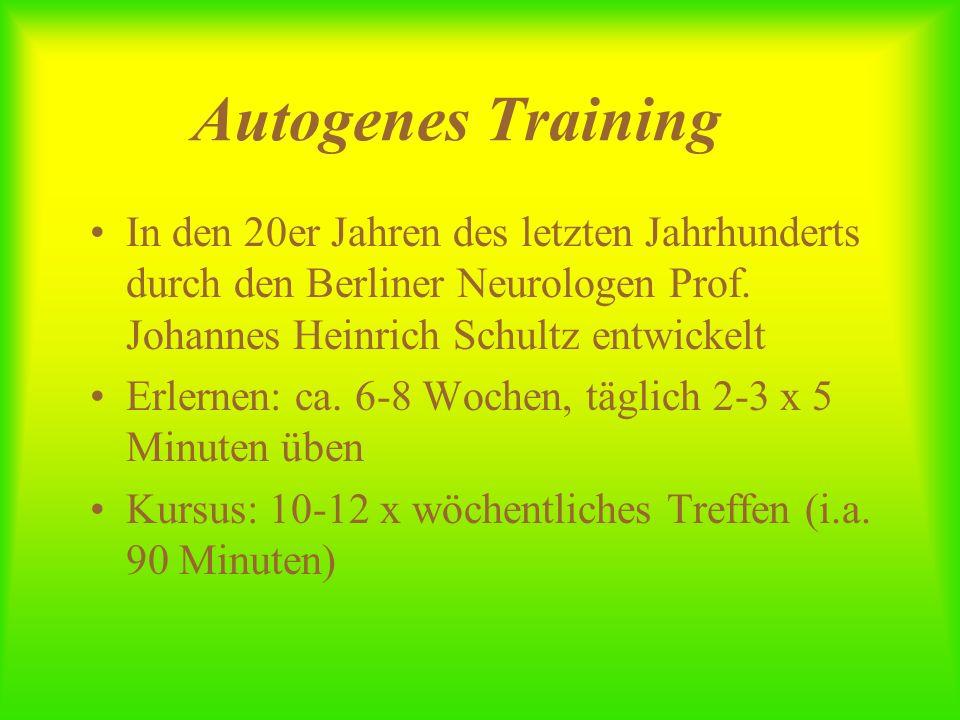 Autogenes Training In den 20er Jahren des letzten Jahrhunderts durch den Berliner Neurologen Prof. Johannes Heinrich Schultz entwickelt.