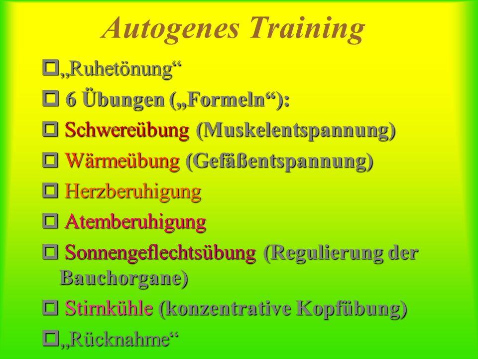 """Autogenes Training """"Ruhetönung 6 Übungen (""""Formeln ):"""