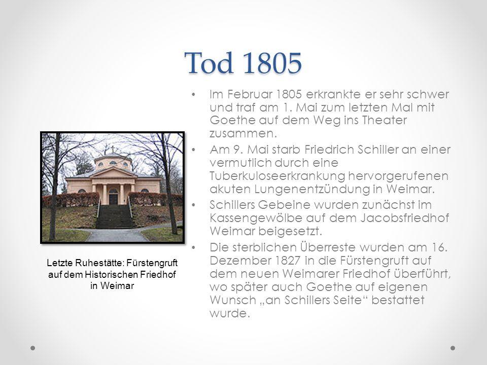 Tod 1805 Im Februar 1805 erkrankte er sehr schwer und traf am 1. Mai zum letzten Mal mit Goethe auf dem Weg ins Theater zusammen.